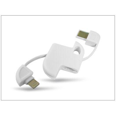 Apple iPhone 5/5S/SE/6/6S/6 Plus/6S Plus USB - ligthning kulcstartó adatkábel - fehér