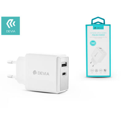 Devia hálózati töltő adapter USB + Type-C bemenet - 5V/3A - Devia Extreme Speed Series PD3.0 + USB Charger - white