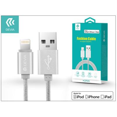 Apple iPhone 5/5S/5C/SE/iPad 4/iPad Mini USB töltő- és adatkábel - 2 m-es vezetékkel (Apple MFI engedélyes) - Devia Fashion Cable Lightning - silver