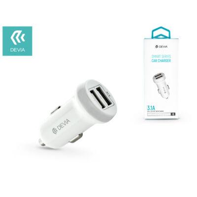 Devia Smart Dual USB szivargyújtós töltő adapter - Devia Smart Series Car Charger - 5V/3,1A - white