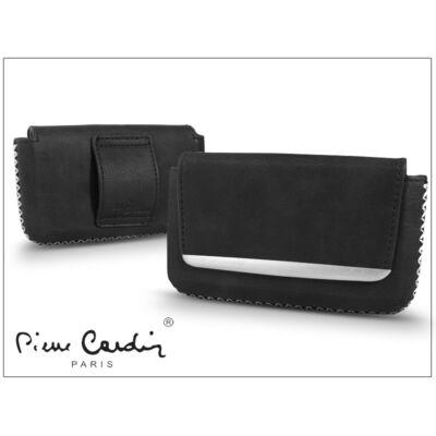 Pierre Cardin vízszintes, fűzős, valódi bőrtok - Apple iPhone 4/4S - Type-7 - fekete