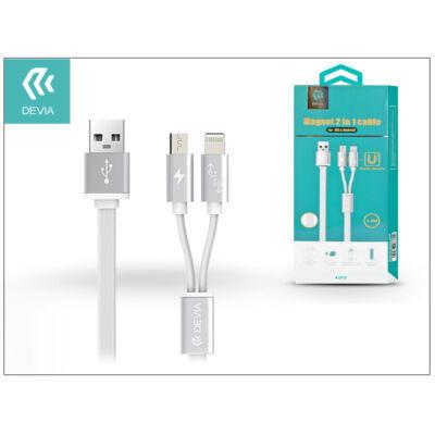 USB - micro USB + Lightning adat- és töltőkábel 1,2 m-es vezetékkel - Devia Magnet 2in1 Charging Cable USB 2.4 - white