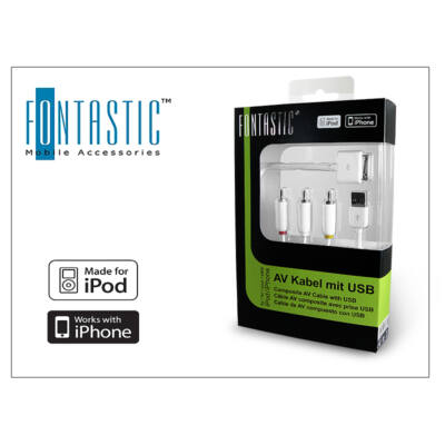 Apple iPhone 3G/3GS/iPod audio/video kábel + USB (Apple engedélyes)