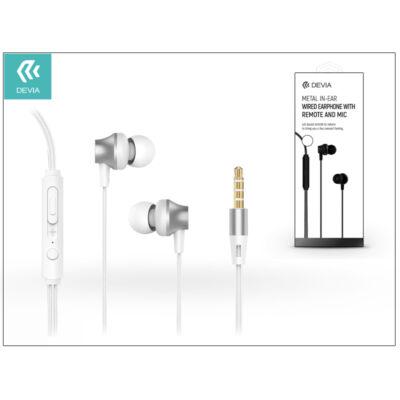 Devia univerzális sztereó felvevős fülhallgató - 3,5 mm jack - Devia Metal In-Ear Wired Earphones - silver