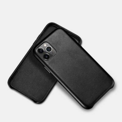 iGlass Leather Case bőrtok - iPhone 11 Pro Max - fekete